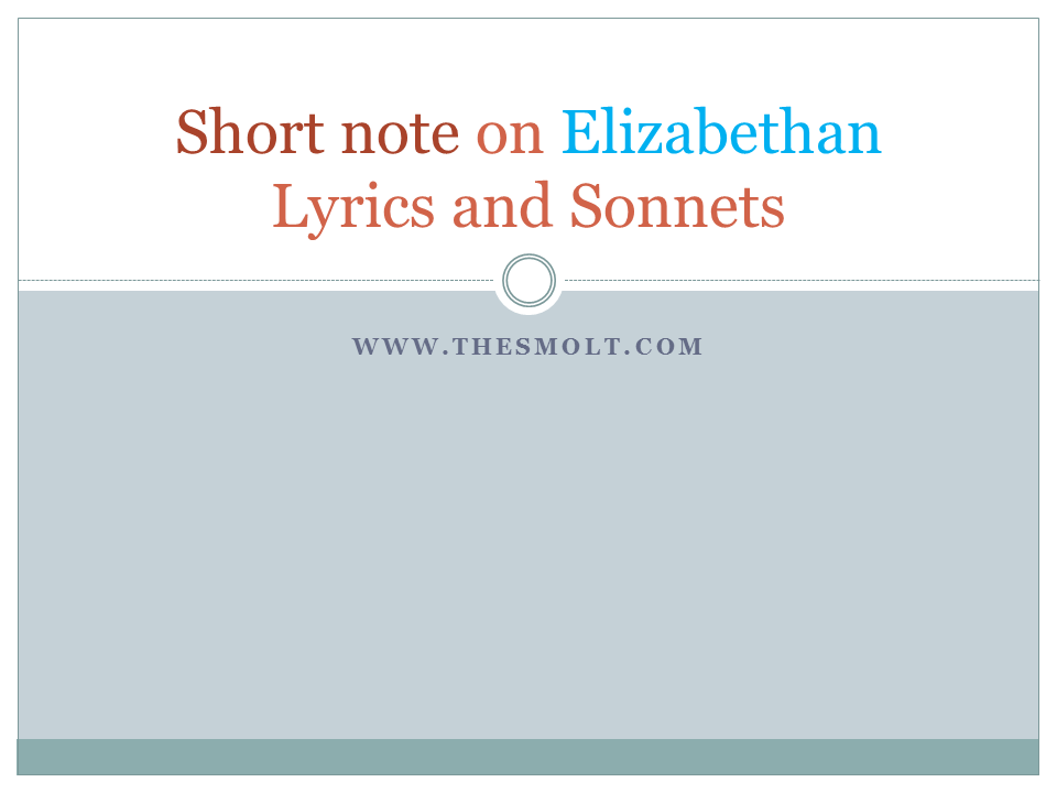 Elizabethan Lyrics and Sonnets