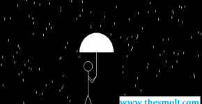 Computer graphics program for a man walking in rain with an umbrella